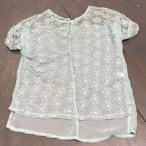 Women's short sleeve lace/sheer top